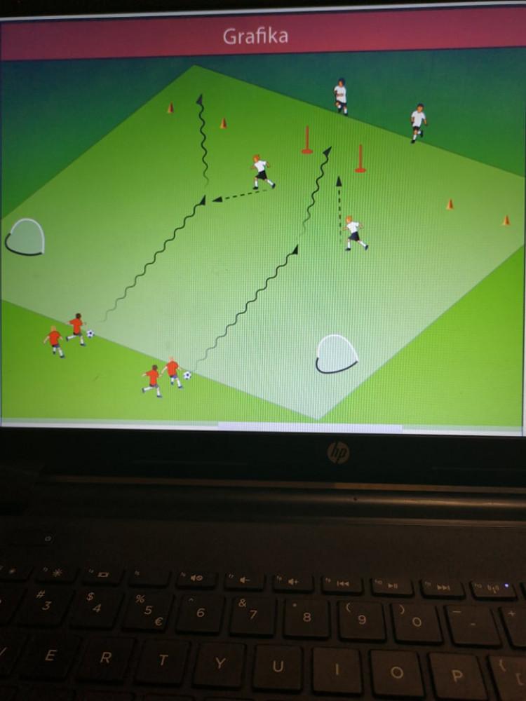 Prowadzenie piłki z grą 1x1 z przejściem przez 3 bramki