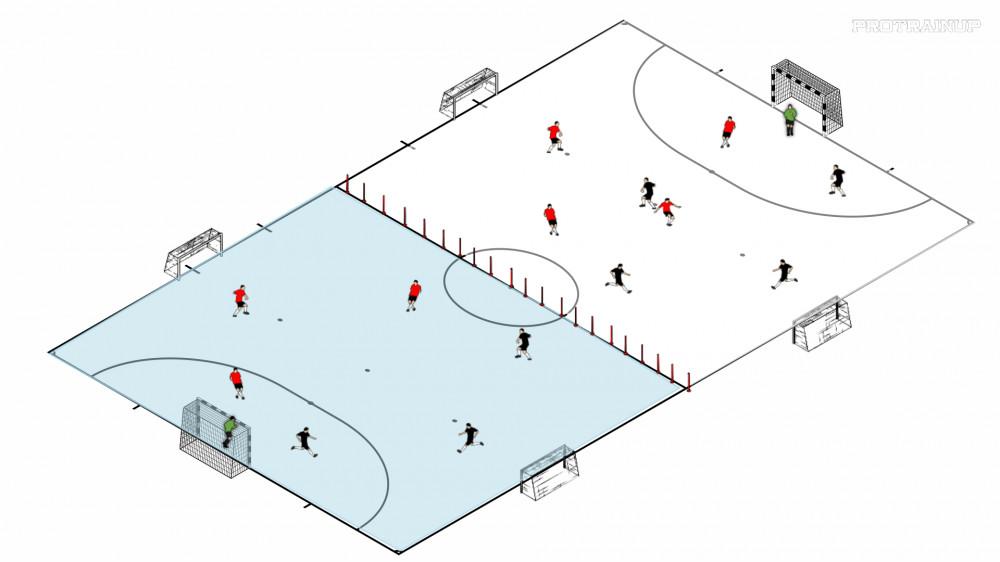 Gra 4x4, 3x3- dwóch boiskach w poprzek hali